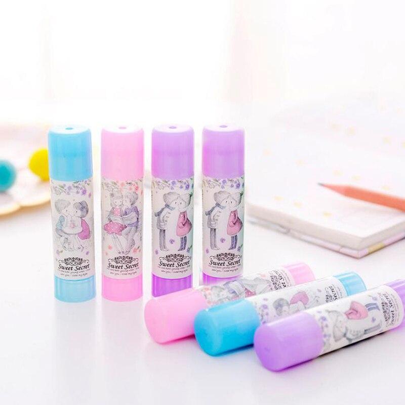 2 Pcs/set Kawaii Sweet Secret Girl Boy Plastic Solid Glue Sticks For Paper Files Art Office School Supplies Korean Stationery