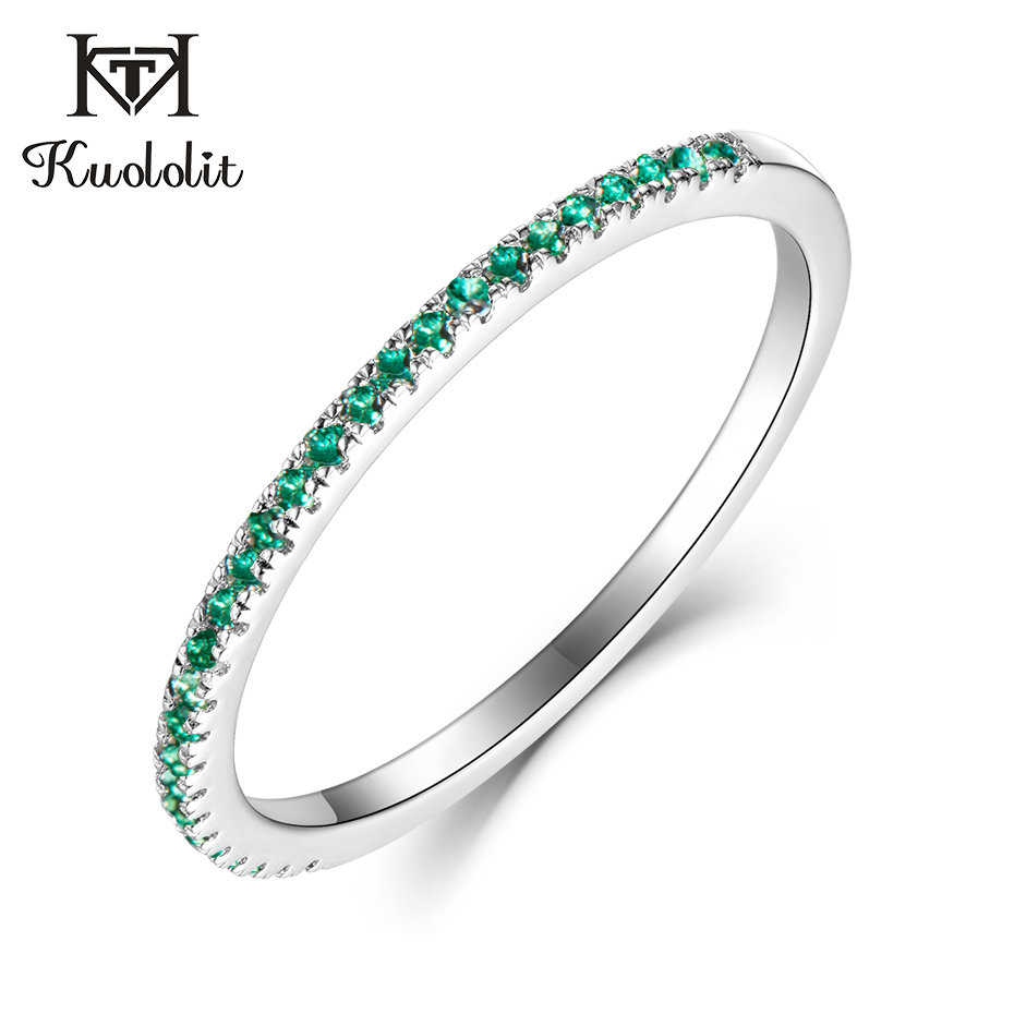Kuololit Solid 10K White Gold 100% Natural Emerald Gemstone Rings for Women 100% Hand Setting Band Rings Engagement Fine Jewelry