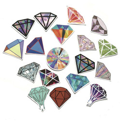 18pcs Diamond Stickers For Notebooks Stationery Laptop Diary Scrapbooking Vintage Personalized Sticker Aesthetic Craft Supplies