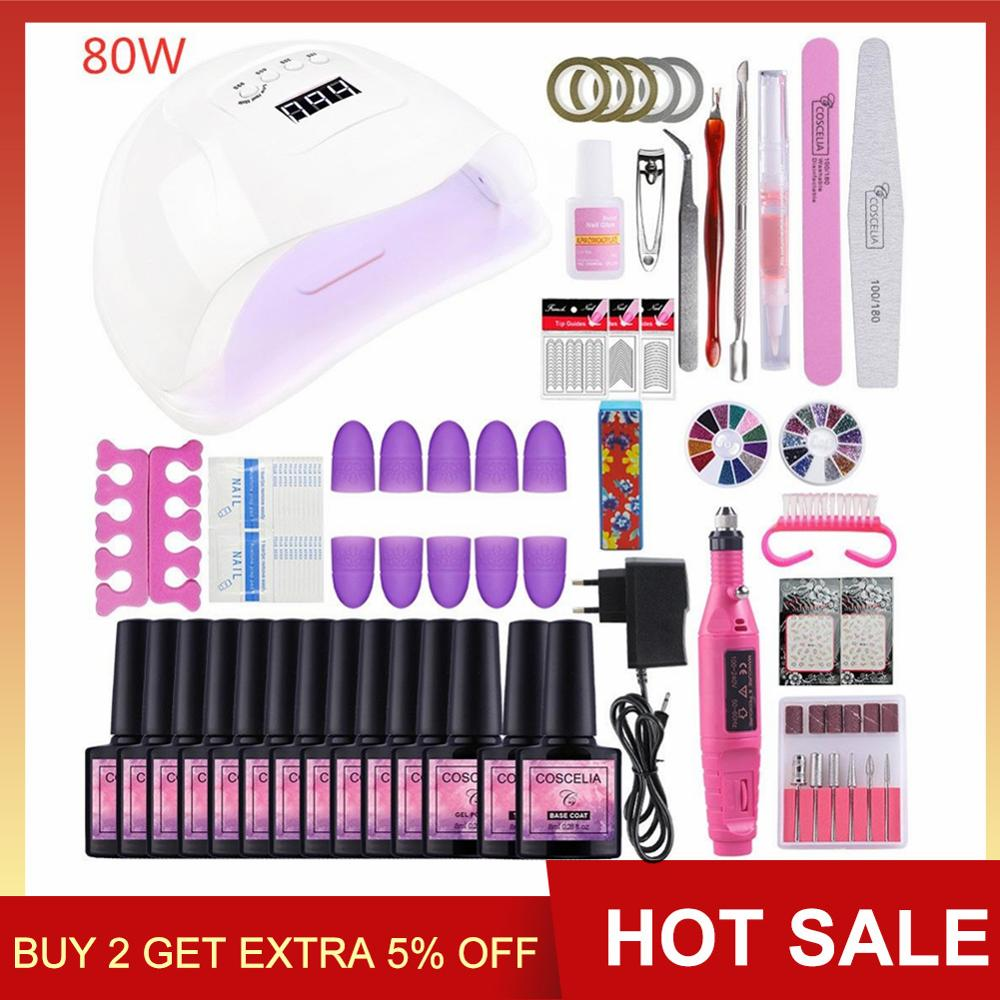 COSCELIA Manicure Set 80W UV LED Lamp With 10PC Gel Nail Polish Nail Kit Electric Drill Machine Nail Art Tools For Manicure in Sets Kits from Beauty Health