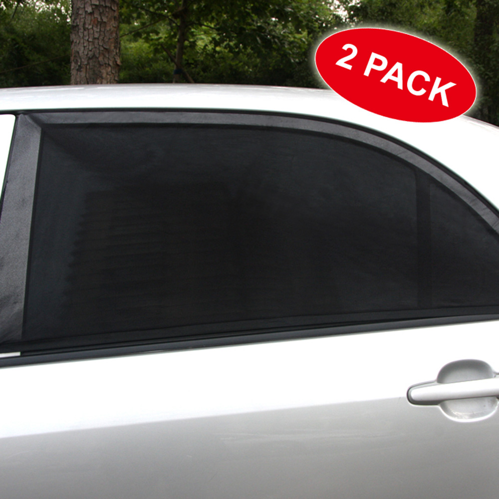 2PCS Adjustable Car Window Sun Shades UV Protection Shield Mesh Cover Visor Sunshades Size XL