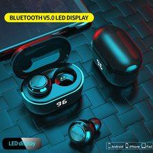 A6 سماعات بلوتوث لاسلكية صغيرة تعمل باللمس الذكية سماعة العرض الرقمي مقاوم للماء سماعات لاسلكية للرياضة سماعات الألعاب