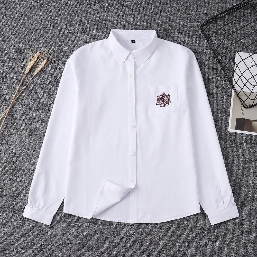2020 White Cotton Japanese Embroidery Pattern Student School Jk Uniform Top Middle High School Uniforms Long Sleeve White Shirt
