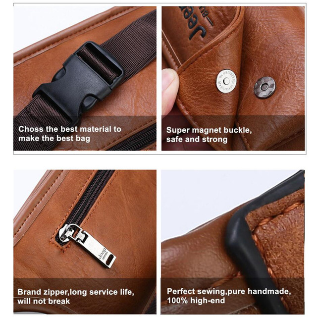 JEEP BULUO Brand Casual Functional Money Phone Belt Bag Chest Pouch Waist Bags Unisex Pack Sling Bag Leather Hip Bag 4
