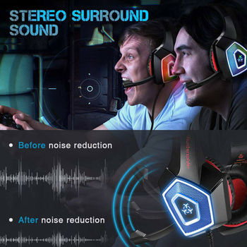 2020 Led Light Gaming Headphones 3.5mm Gaming Headset Mic LED Headphones Stereo Surround For PC PS4 Adjustable Bass Stereo 5