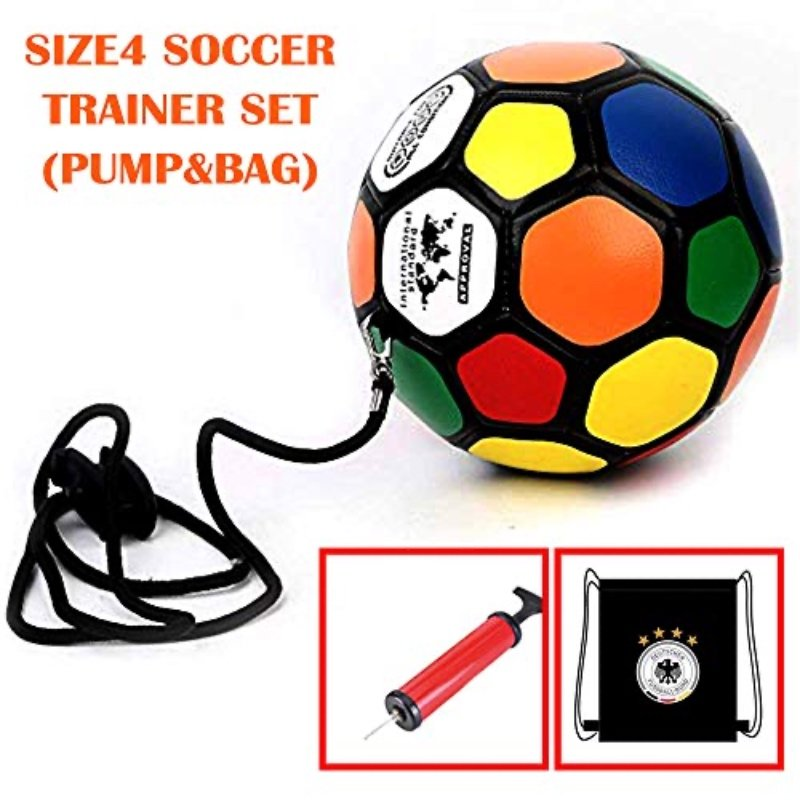 WISHOME Kids Kickball Soccer Ball Solo Trainer With Bag Adjustable Handle Size 4 Football For Dribbling/Shooting Futbol Voetbal