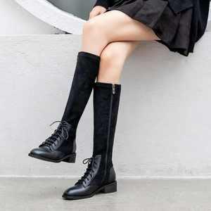 Image 3 - Krazing Pot prawdziwej skóry patchwork stado stretch buty brytyjska koronka up moda boczny zamek utrzymać ciepłe buty damskie zakolanówki L22