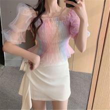 Ins корейский стиль Радужная короткая летняя шифоновая блузка
