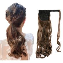 Kong&Li Long Wave Wrap Around Clip In Ponytail Hair Extension Heat Resistant Synthetic Pony Tail Fake Hair