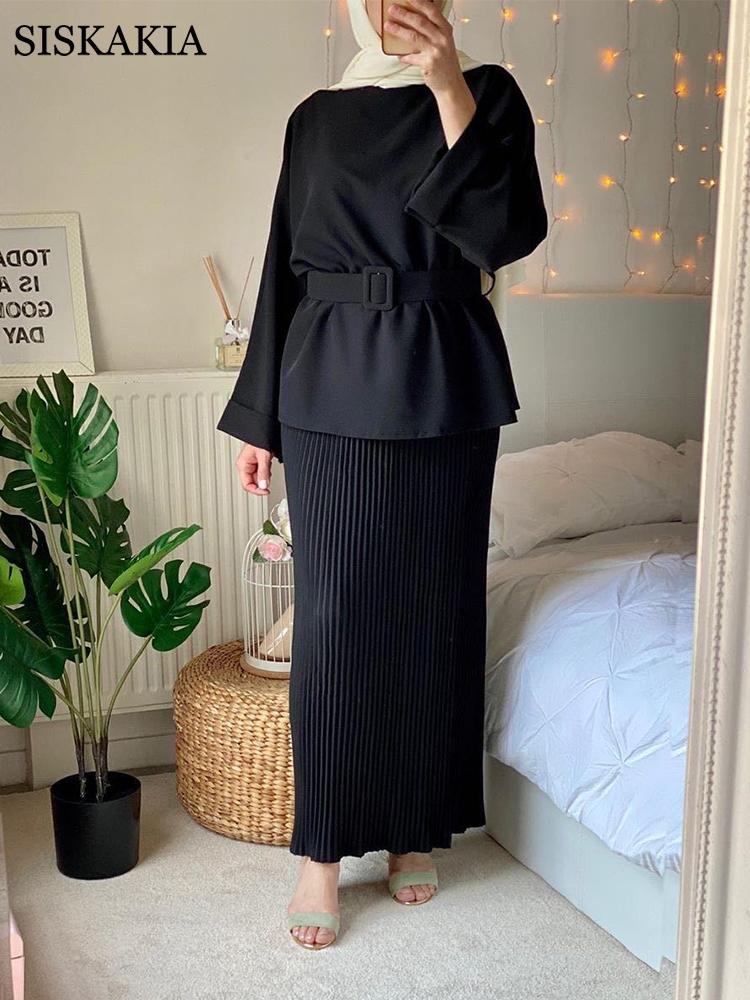 Siskakia 2 Pieces Dress Set for Women Muslim 2021 Ramadan Eid Dubai Turkey Arabic Islamic Clothing Tops with Maxi Skirt Solid