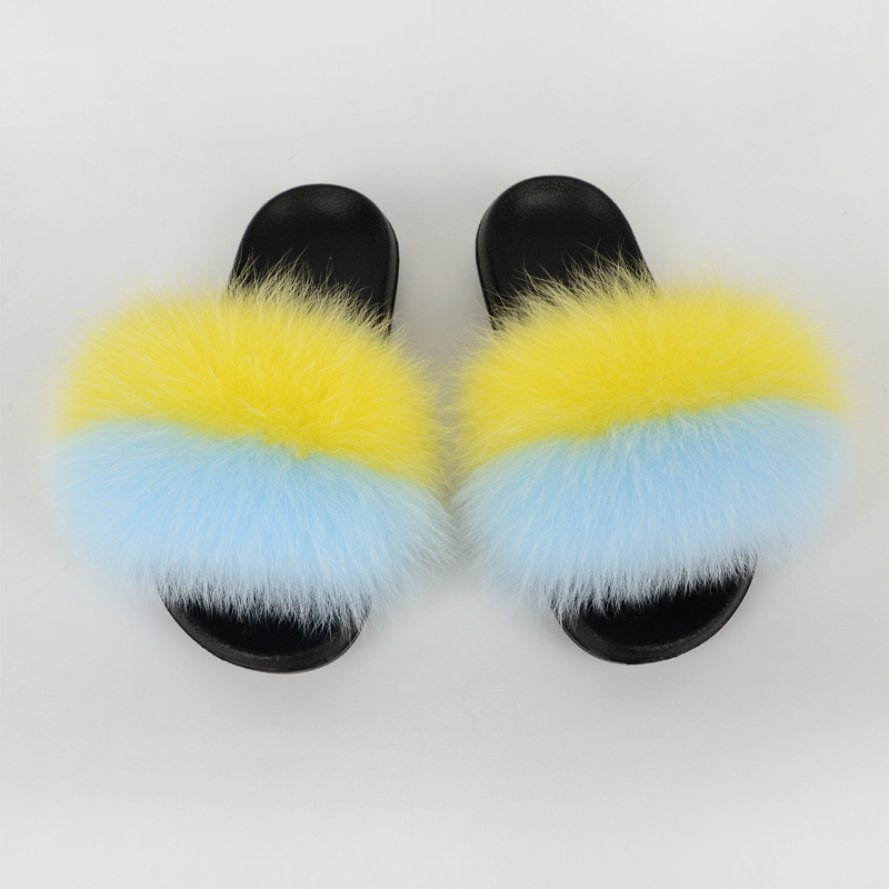 Women Slippers Fluffy Outdoor Fox Fur Slides Female Summer Mules Shoes Women Adult Sandals Fashion Luxury Flat Footwear 2020 New