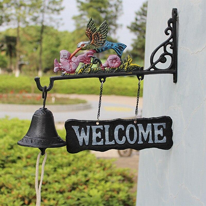 Чугунный подвесной колокольчик Колибри декоративный обеденный Звонок Птица Цветок ферма ранчо домик патио садовые ворота украшение для дв... - 2
