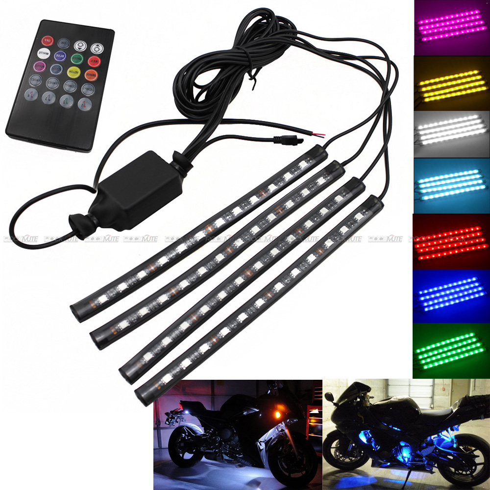 Motorcycle RGB LED Strip Atmosphere Decorative Light Remote Control For <font><b>Kawasaki</b></font> ZX6R ZX10R ZX14R <font><b>NInja</b></font> <font><b>250</b></font>/300/400/500/650/1000 image
