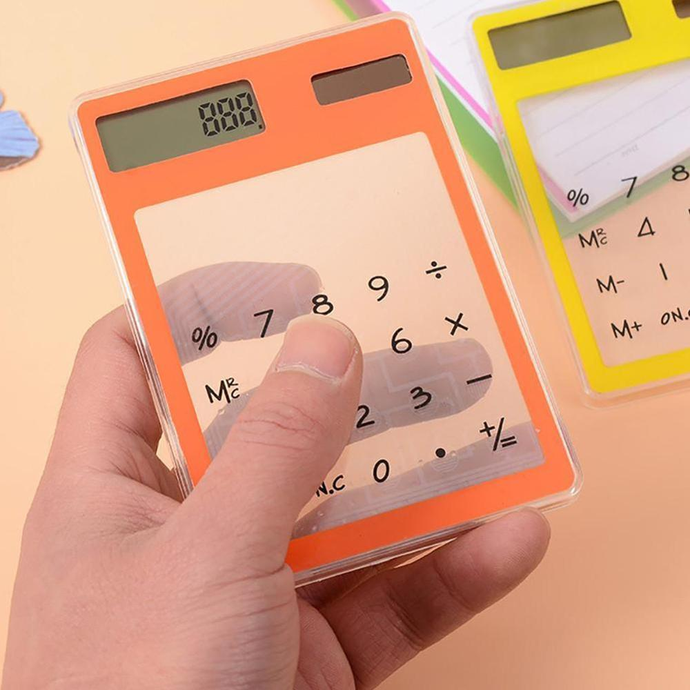 Useful LCD 8 Digit Touch Screen Ultra Slim Transparent Solar CalculatorStationery Clear Scientific Calculator Office