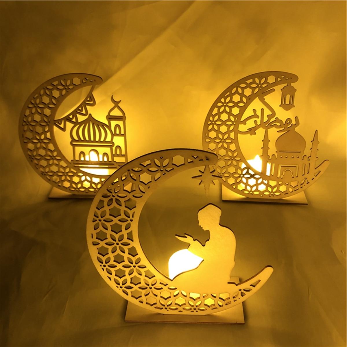 Eid Mubarak Ramadan Home Desktop Decoration Wooden LED Moon Pendant Halal Kareem Islamic Event Party Holiday Supplies