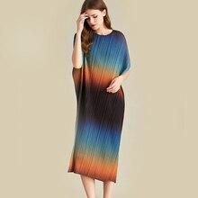 Lanmrem Gradient Màu Bát Cổ Tròn Tay Ngắn Nếp Gấp Không Đều Rời Người Phụ Nữ Váy Đầm Đơn Giản Thời Trang Mùa Hè 2020 Mới TV582