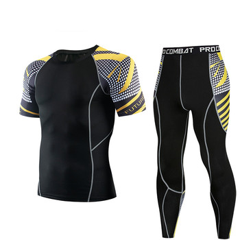 Men's Athlete Training Clothes Short Sleeve Trousers Set Compression Quick Dry Breathable Gym Fitness Workout Set