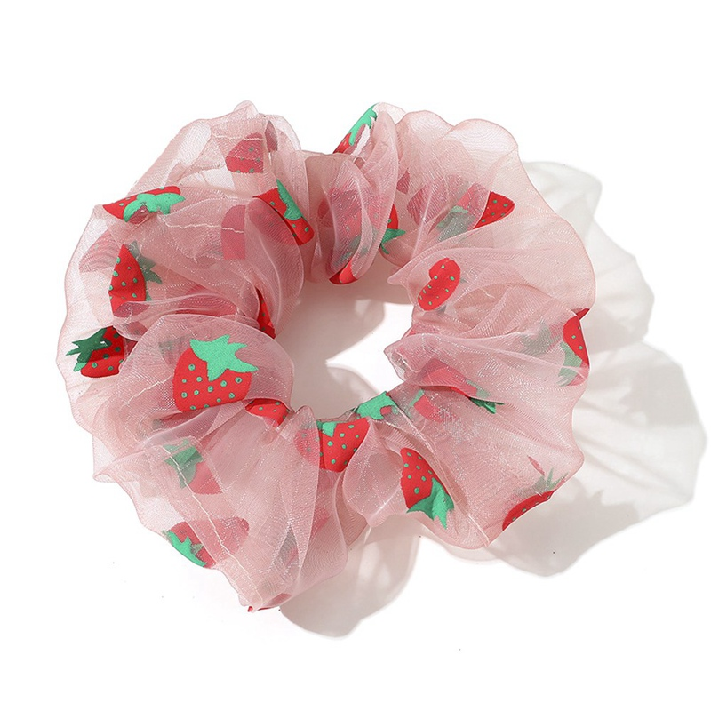 Women Strawberry Organza Hair Rope Ties Ponytail Holder Hair Ring Elastic Rubber Band Scrunchie Hair Accessories For Women Girls