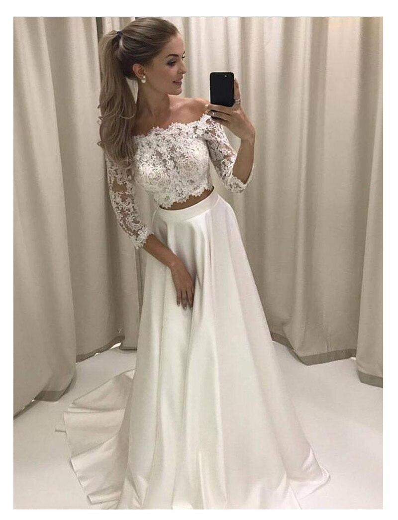 White Boho Wedding Dress 2020 Lace 3/4 Sleeves Chiffon Simple Princess Bride Dress 2 Sets Pieces Wedding Gown Vestido De Noiva
