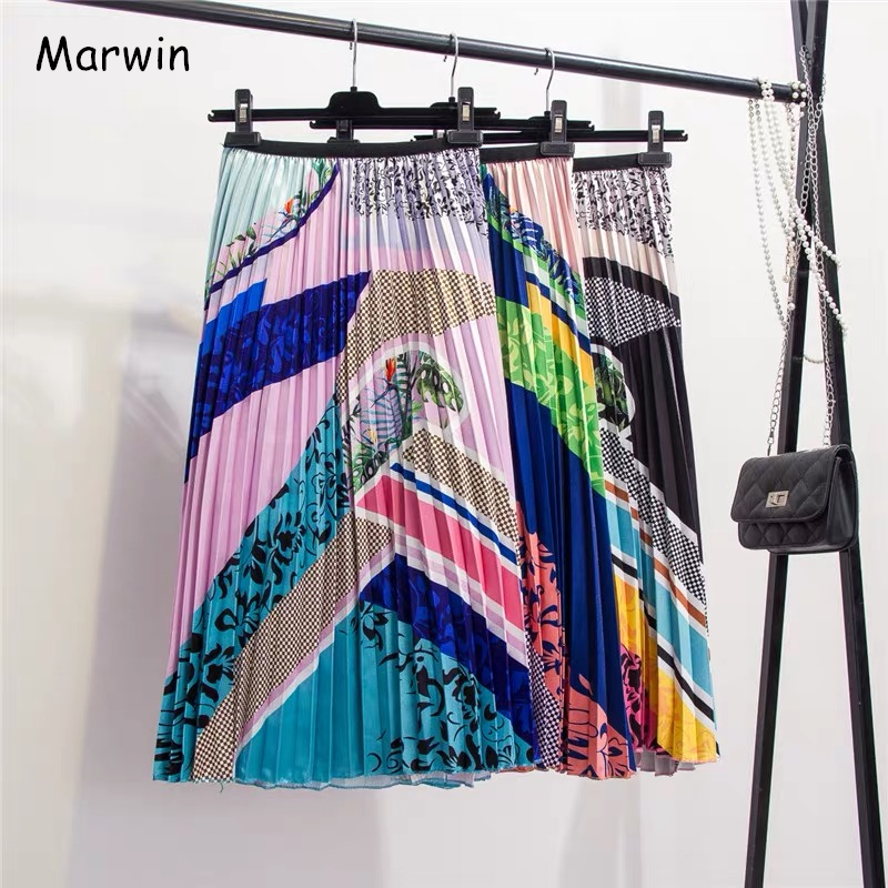 Marwin 2019 New-Coming Color Printing A-Line Mid-Calf European Women Skirts High Street Style Patchwork Pleated Fashion Skirts