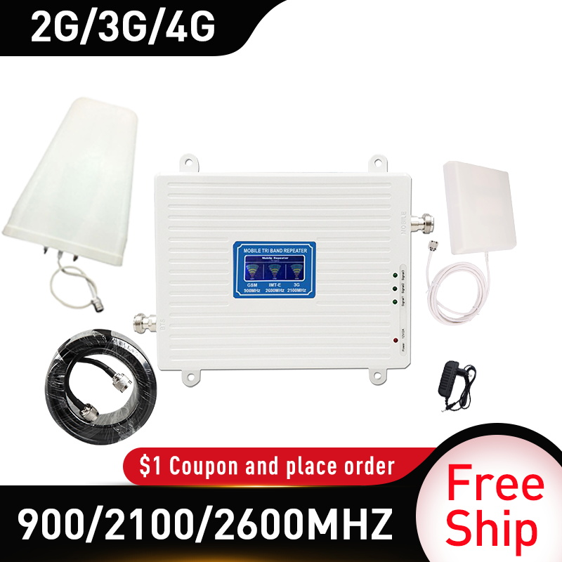 4g Signal Booster 900/2100/2600MHZ GSM UMTS WCDMA FDD LTE 2G 3G 4G Cellular Mobile Signal Booster Amplifier 4G Antenna Gain 70db