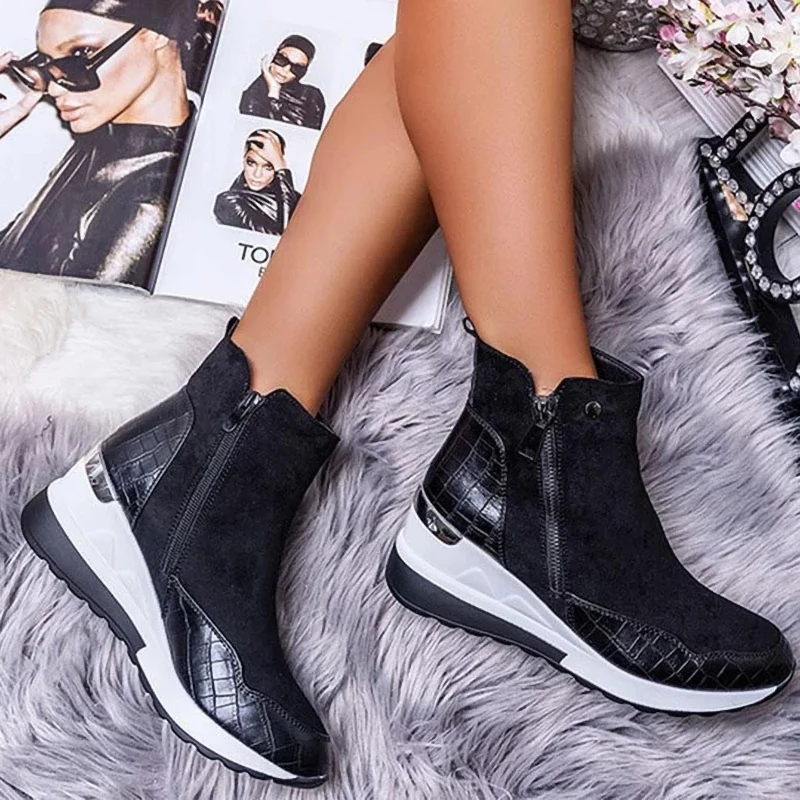 2020 Women Boots fashion Winter ankle waterproof Boots Round Toe Wedges Snow Warm Women's Sneakers Work Non slip Female Shoes