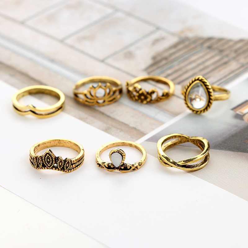 7 ชิ้น Vintage Drop หินรูป Lotus แหวนเงินแหวนชุดเครื่องประดับแหวนหมั้นผู้หญิงแฟชั่นแหวนดอกไม้