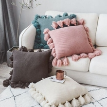 Decorative-Cushion Pillow Sofa Nordic Home Knitted Solid Suzuo-Edge Ins-Style