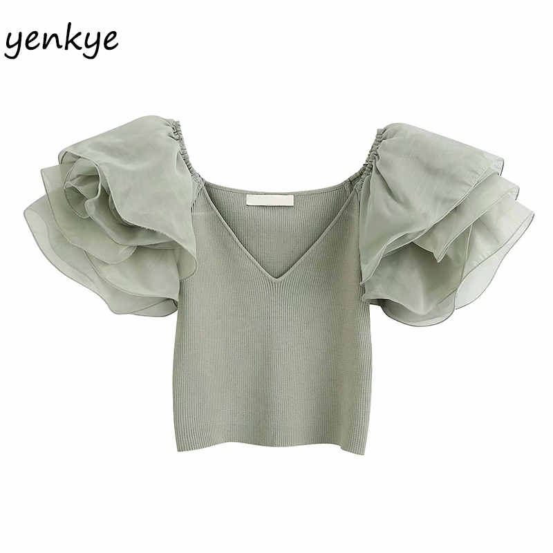 Semi-sheer Organza Sleeve Crop Top Women V Neck Summer Knit Top Vintage Solid Color Elastic  Sexy Tops   BBWM2240