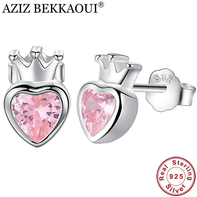 AZIZ BEKKAOUI 925 Sterling Silver Pink Heart Stud Earrings For Women Silver Crown Earrings For Girl Engagement Jewelry