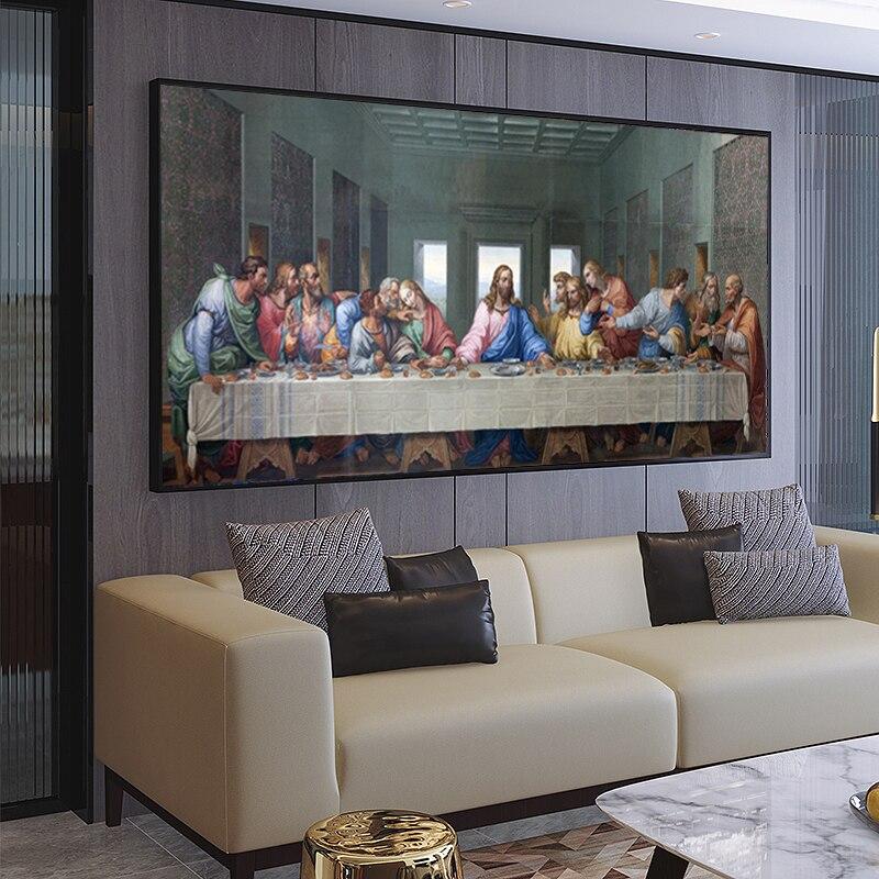 """Arte moderna pintura famosa leonardo da vinci """"a última ceia"""" pintura cartazes e impressões sala de estar decoração da parede"""