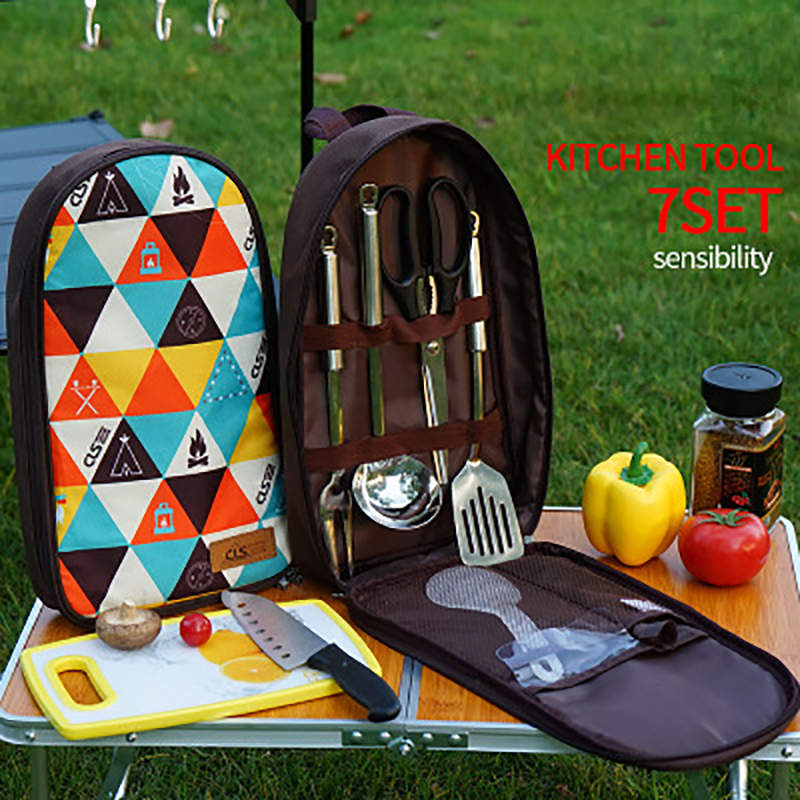 Outdoor Cookware Set Wild Kitchen ware Camping Hiking  Portable Stainless Steel 7 Piece Handbag Picnic Bag