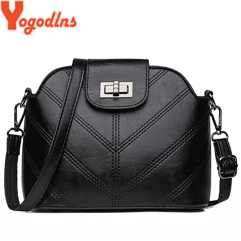 Yogodlns Fashion Shell Style Women Crossbody Bags High Quality PU Leather Ladies Messenger Bags Girls Small Shell Shoulder Purse