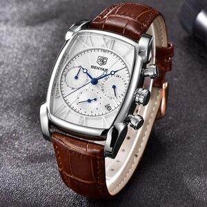 Image 2 - BENYAR zegarki mężczyźni luksusowa marka kwarcowy mężczyzna Wist zegarki skórzany wojskowy pasek Casual kwadratowy zegarek wodoodporny Reloj De Hombre