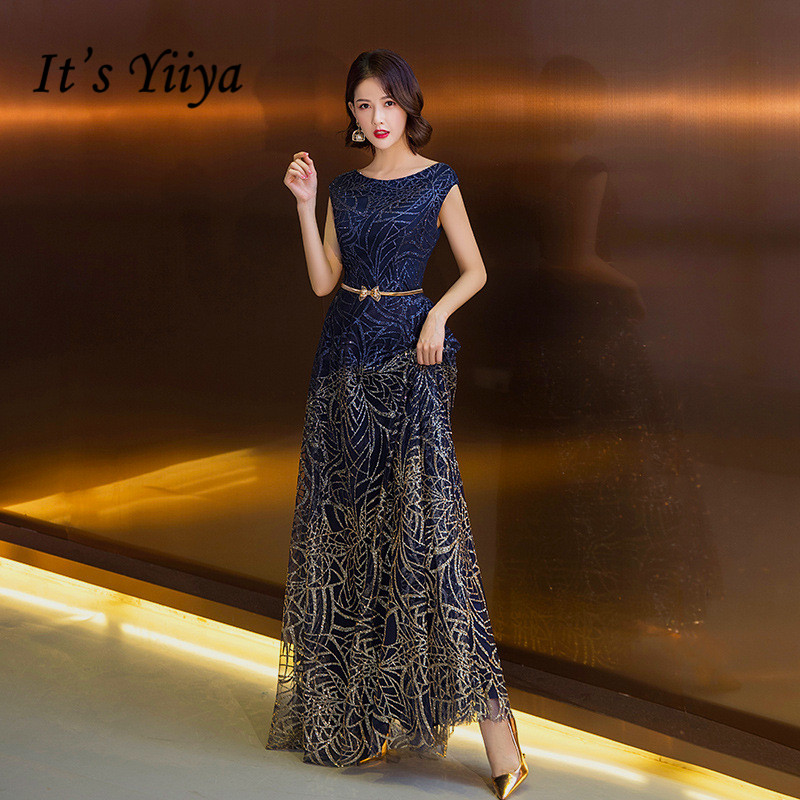 It's Yiiya Sequined Evening Dress Navy Blue Shiny Formal Party Dresses O-neck Sleeveless Party Gowns Vestidos Compridos K189