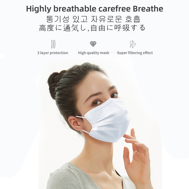 20pcs/50pcs Disposable Mask Mascarillas Masque 3 Layers tapabocas Respirator Face mouth Protective Dust proof Filter Safe mask 3