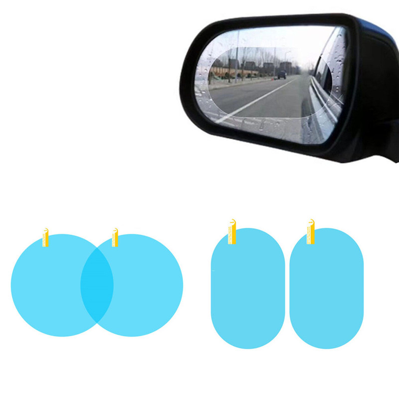 2PCS Cars Rearview Mirror Window Protective Film Car Accessories Interior Anti-Fog Membrane Waterproof Rainproof Auto Stickers