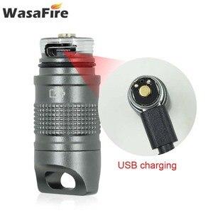 Image 3 - Süper küçük fener cep Mini LED el feneri USB şarj edilebilir taşınabilir su geçirmez beyaz işık anahtarlık Torch 10180 pil ile