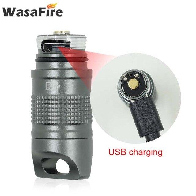Süper küçük fener cep Mini LED el feneri USB şarj edilebilir taşınabilir su geçirmez beyaz işık anahtarlık Torch 10180 pil ile
