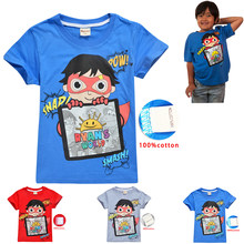 Ryan Toys Review TShirt Boys Girls Top Tees Summer Cotton T Shirts Clothing Minecraft Big Kids Toy Story Shirt Clothes Boys Tops(China)