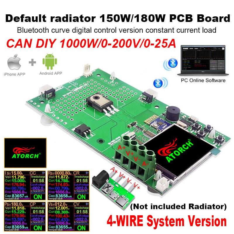 DIY 1000W 4 провода DC USB тестер Электронная нагрузка литиевая батарея Емкость монитор разрядки заряда источника питания метр печатной платы