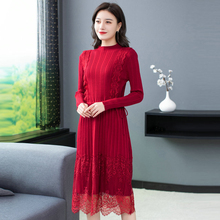 Women Chic Classy Lace Knitted Dresses Autumn Winter Knotted Waist Design One Piece Knitwear Knee Length Red Black Blue Dress