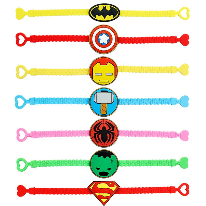 Super Hero Logo Charm Bracelet Silicone Wristband Superman Spiderman Iron Man Batman Usa Captain Bracelet For Kids Children Gift Charm Bracelets Aliexpress