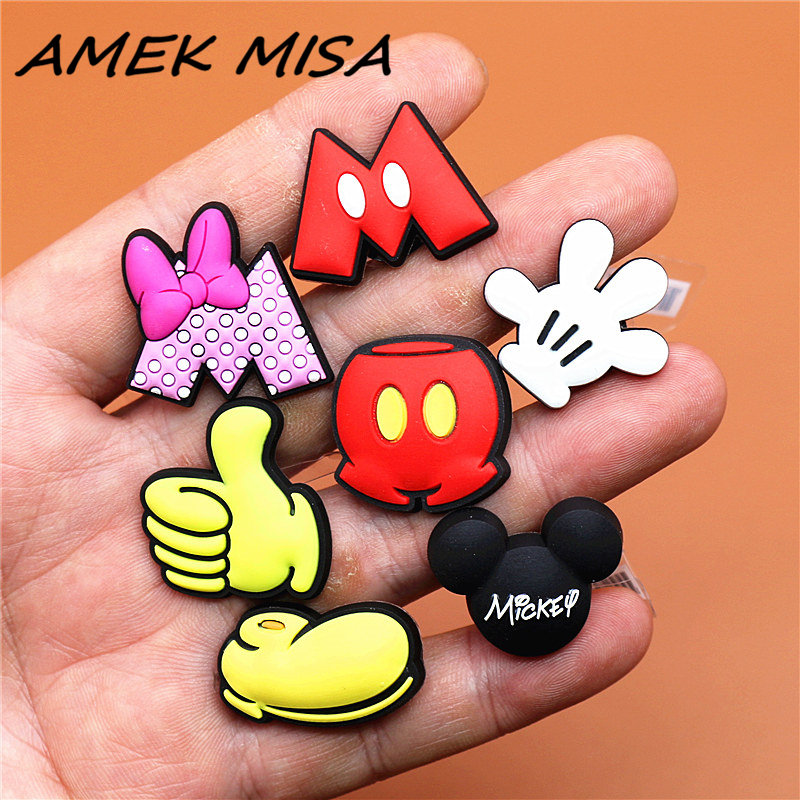 Novel Single Sale Cartoon Character Shoe Charms Accessories Cute Mickey Minnie Garden Shoe Decoration For Croc Jibz Kid's X-mas