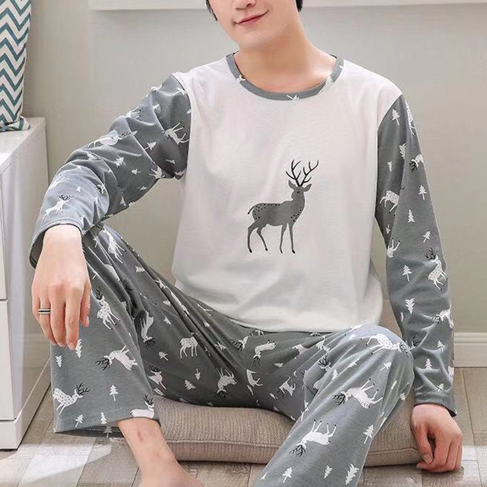 JODIMITTY 2020 Spring New Men Pajamas Sets Casual Long Sleeve O Neck Thin Loose Pajamas For Men Printed  Sleepwear Suit Homewear