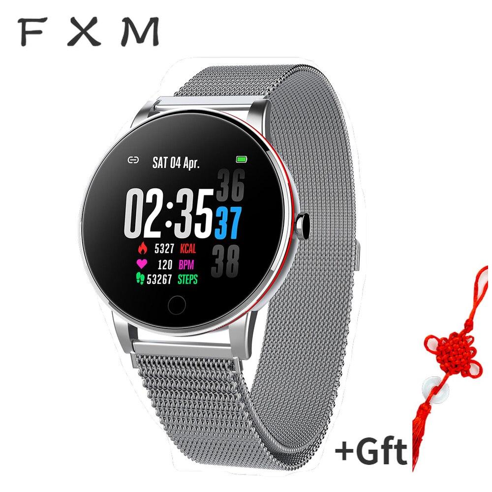 FXM Y Smart Men Watch Digital Watch Ip67 Waterproof Slim Metal Body Milanese Strap Replaceable Heart Rate Monitor Blood Pressure