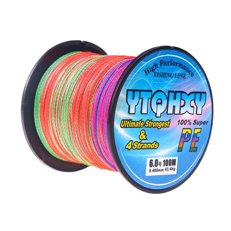 4 серии, 100 метров, сильная Конская леска, основная леска, PE леска, ткацкая рыболовная снасть, кайт леска, многофиламентная рыболовная леска - Цвет: Многоцветный