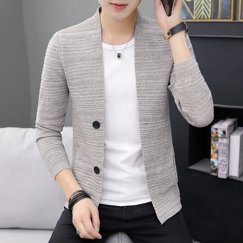 2019 Sweater Men Cardigan Spring Gray Fashion Slim Tops Man Knitting Casual Home Outerwear Thin Male Cardigan Free Shipping