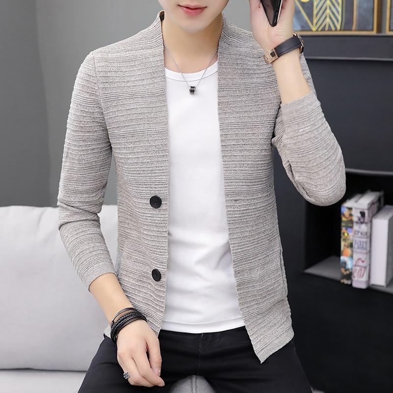 2019 Sweater Men Cardigan Spring Gray Fashion Slim Tops Man Knitting Casual Home Outerwear Thin Male Cardigan Free Shipping