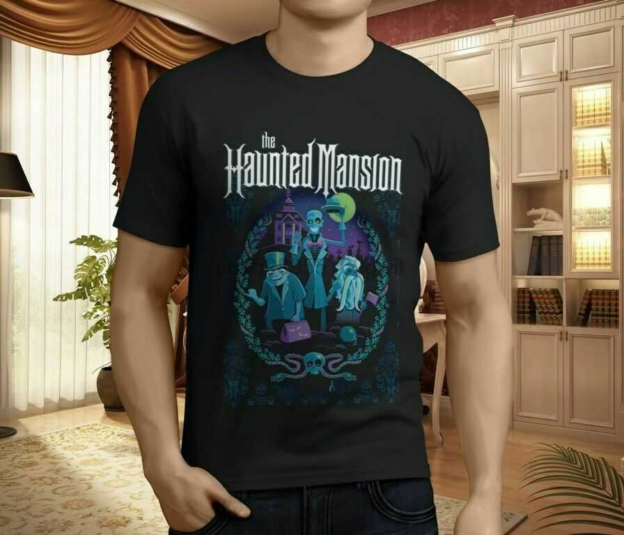 Nieuwe Haunted Mansion Poster Mens Black T-Shirt S-5XL Mannen Vrouw